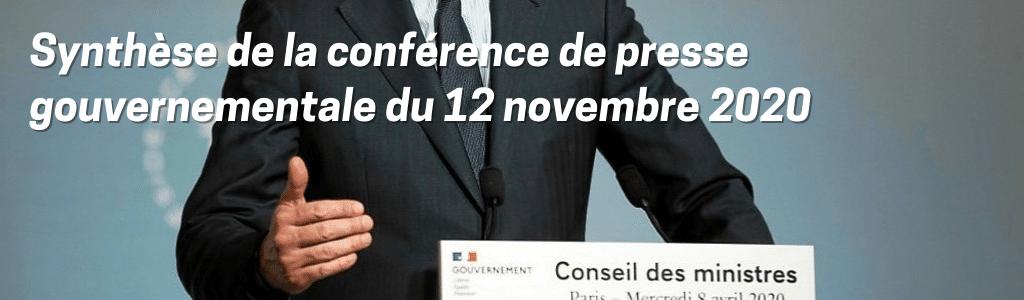 Synthèse de la conférence de presse gouvernementale du 12 novembre 2020
