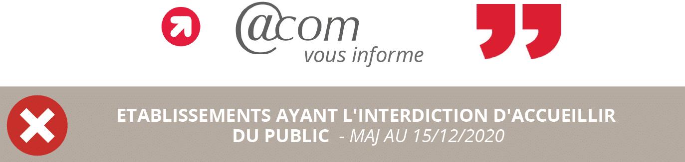 Établissements ayant l'interdiction d'accueillir du public – Maj au 15/12/2020